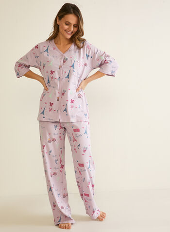 Parisian Print Pyjama Set, Purple,  fall winter 2020, pyjamas, pyjama set, sleepwear, holiday, holiday 2020, Paris print, Eiffel Tower print