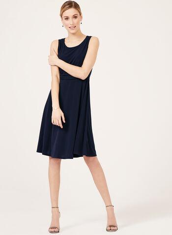 Jessica Howard – Lace Jacket Ruched Dress Set, Blue, hi-res