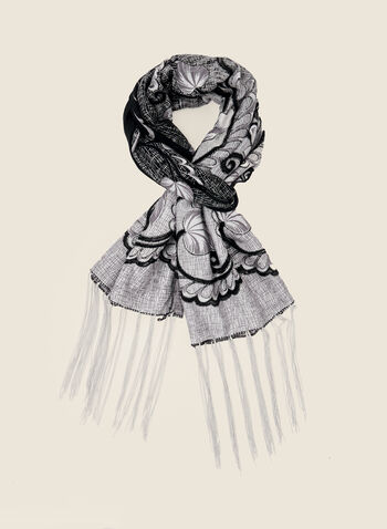 Floral Print Lightweight Scarf, Grey,  accessories, scarf, lightweight, floral, fringe, fall winter 2020
