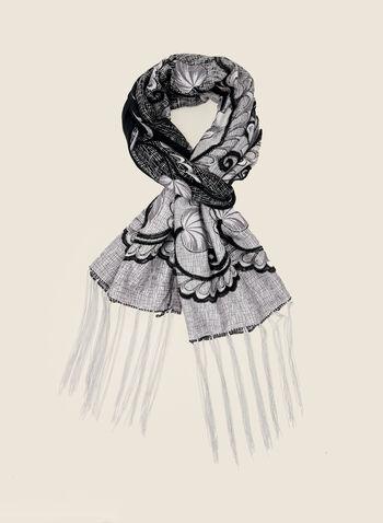 Foulard léger à motif fleurs, Gris,  automne hiver 2020, foulard, accessoire, motif, fleurs, fleuri, floral, franges