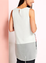 Sleeveless Chiffon Floral Print Top, White, hi-res