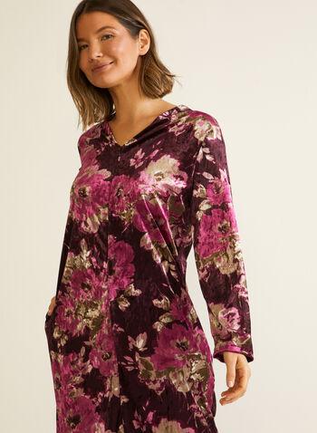 Robe de nuit florale en velours, Multi,  automne hiver 2020, pyjama, chemise de nuit, robe de nuit