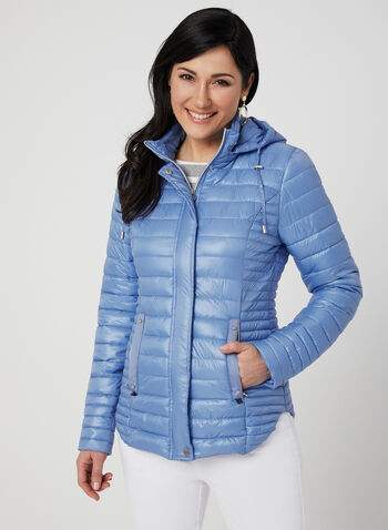 Novelti - Quilted Coat, Blue,  reflective, glow, machine washable, spring 2019