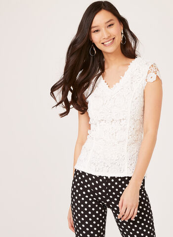 Ness - Lace applique Top, Off White, hi-res