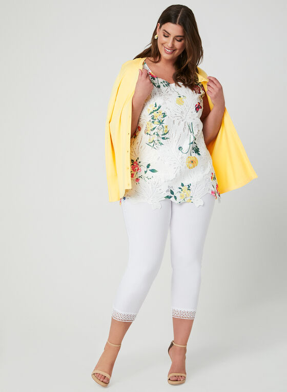Ness - Floral Print Top, White, hi-res