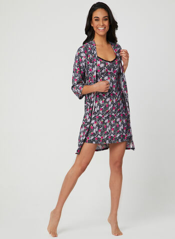René Rofé - Floral Nightshirt & Robe Set, Black, hi-res