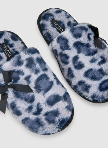 Leopard Print Slippers, Blue,  slippers, sleepwear, leopard print, fall 2019, winter 2019