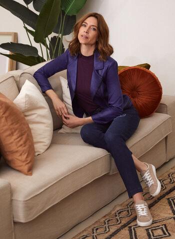 Vex - Blazer en faux cuir, Bleu,  cardigan, rayé, tricot, bouton, manches 3/4, automne hiver 2020, cuir végane