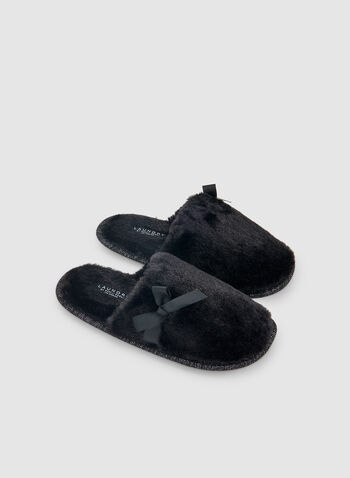 Bow Detail Slippers, Black,  sleepwear, slippers, fall 2019, winter 2019