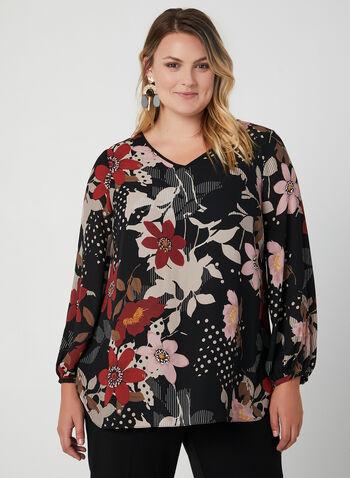 Blouse fleurie à manches bouffantes, Noir,  automne hiver 2019, haut, blouse, motif, mousseline, manches longues, manches bouffantes
