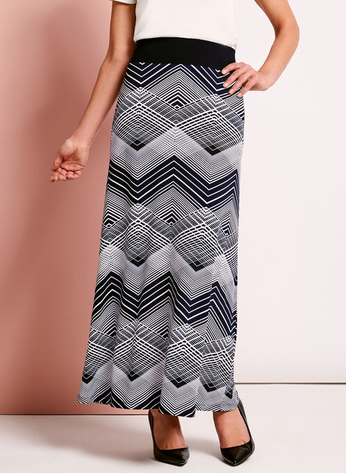 Graphic Print Maxi Skirt, Blue, hi-res