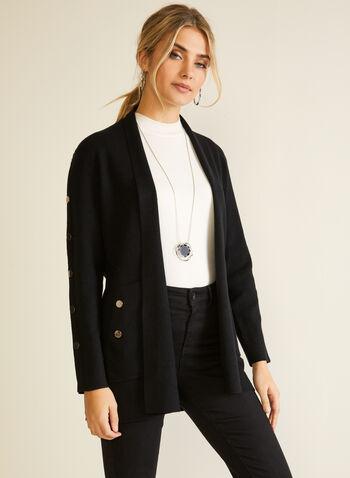 Cardigan ouvert à boutons métallisés, Noir,  automne hiver 2020, cardigan, manches longues, ouvert, tricot, poches, boutons, métallique, métallisé