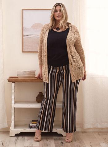 Pantalon rayé à jambe large, Noir,  pantalon, pull-on, rayé, jambe large, moderne, jersey, printemps été 2020