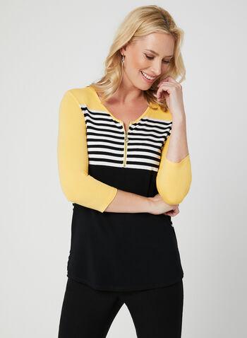 Colour Block Top, Black, hi-res,  stretchy, stripe print, ¾ sleeves, spring 2019