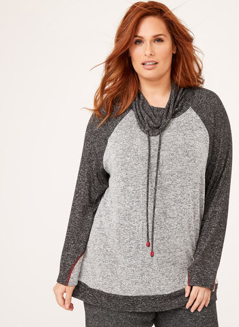 Long Sleeve Funnel Neck Knit Top, Grey, hi-res