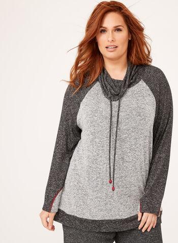 Long Sleeve Funnel Neck Knit Top, Grey, hi-res