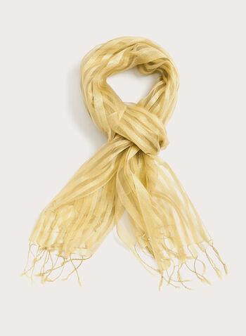 Foulard léger avec bandes brillantes et transparentes, Or, hi-res