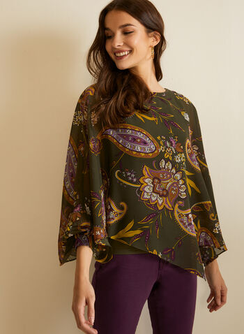 Paisley Print Blouse, Green,  fall winter 2020, blouse, top, round neck, cape style, chiffon, long sleeves, paisley print