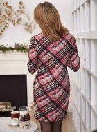 Tartan Print Knit Dress, Pink