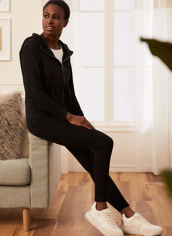 Zip Front Hooded Top, Black,  top, hooded, long sleeves, nylon, zip front, spring summer 2021