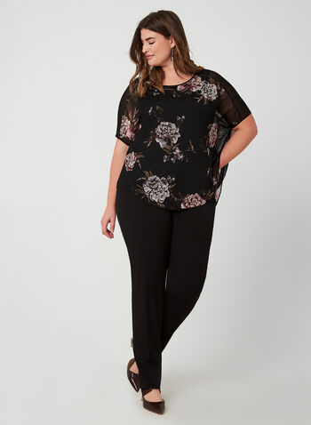Floral Print Poncho Blouse, Black, hi-res,  Made in Canada, mesh, Scoop neck, fall winter 2019