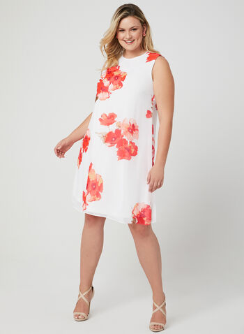 Floral Print Chiffon Dress, Off White, hi-res