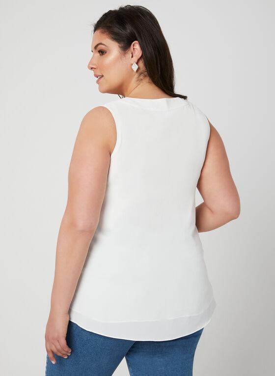 Sleeveless Crepe Top, Off White, hi-res