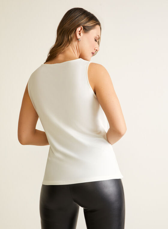 Sleeveless Drape Neck Blouse, White