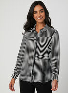 Stripe Print Blouse, Black, hi-res