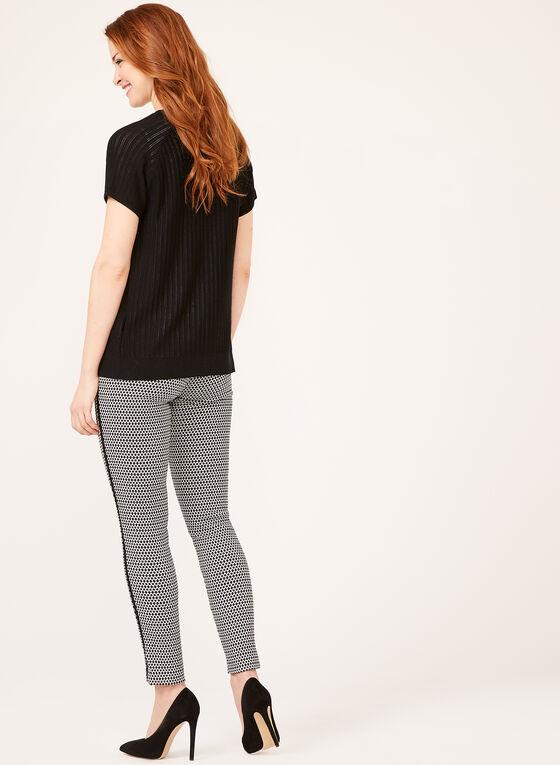 Cardigan à manches courtes en tricot pointelle, Noir, hi-res