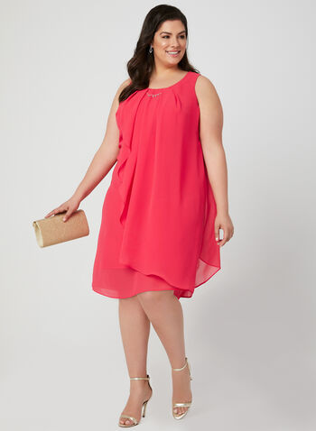 Sleeveless Chiffon Dress, Pink, hi-res
