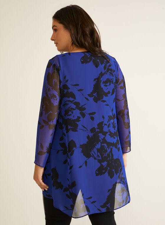 Haut en mousseline à motif floral , Bleu