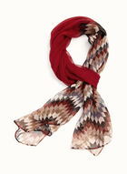 Zigzag Print Trim Scarf , Red, hi-res