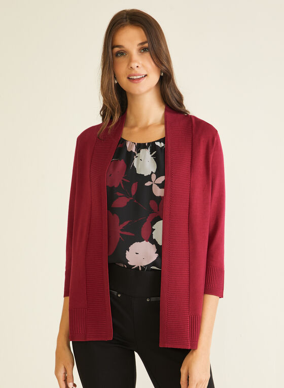 Open Front 3/4 Sleeve Cardigan, Purple