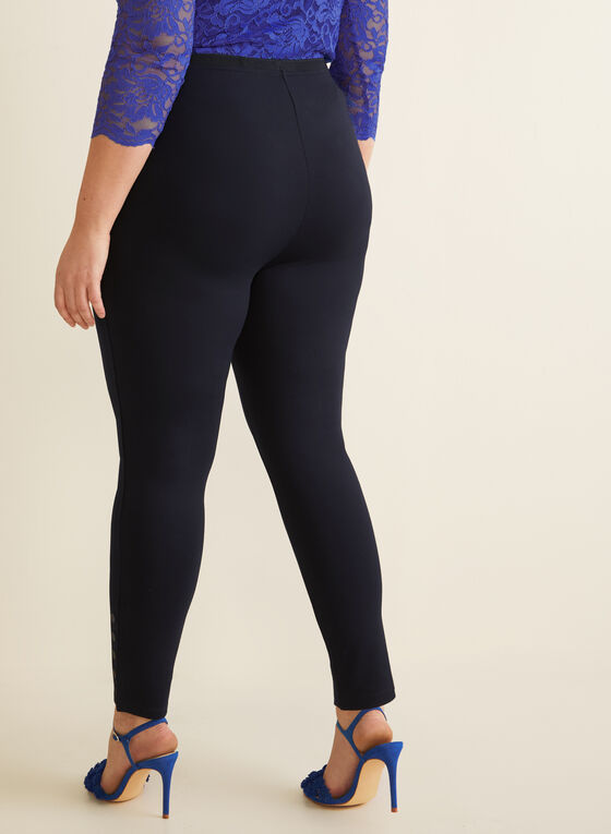 Button Detail Leggings , Blue