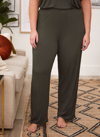 Lace Trim Detail Pyjama Set, Green,  fall 2021, made in canada, pants, top, shirt, pyjama, set, sleepwear, night, bedtime, pjs, pull on, elastic, wide leg, soft, comfy, fabric, khaki, v neckline, lace trim, detail, short sleeves