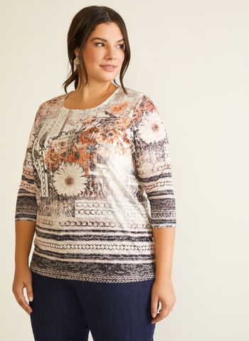 Abstract Print ¾ Sleeve Tee, Brown,  fall winter 2020, abstract, floral print, chain print, scoop neck, round collar, 3/4 sleeve, flower, patterned