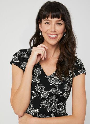 Floral Print Fit & Flare Dress, Black, hi-res,  spring 2019, summer 2019, short sleeves, crochet lace