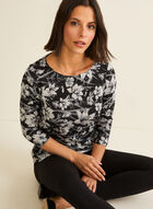 ¾ Sleeve Floral Print Top, Grey