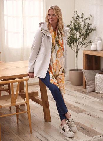 Kensie - Manteau imperméable à capuchon, Argent,  manteau, imperméable, capuchon, fleurs, zip, poches, printemps été 2020