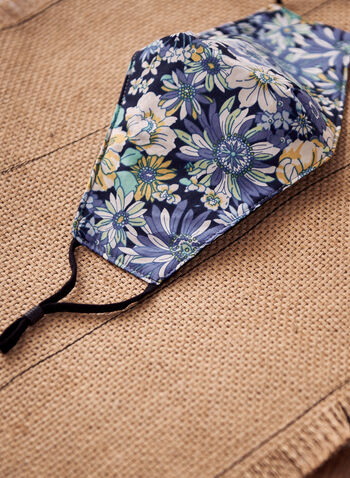 Floral Print Mask, Blue,  floral, floral print, floral motif, spring summer 2021, mask, fabric mask, cloth mask, cotton mask, reusable mask, adjustable straps, printed, machine washable, accessories, face mask