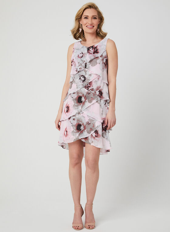 Floral Print Chiffon Dress, Red, hi-res