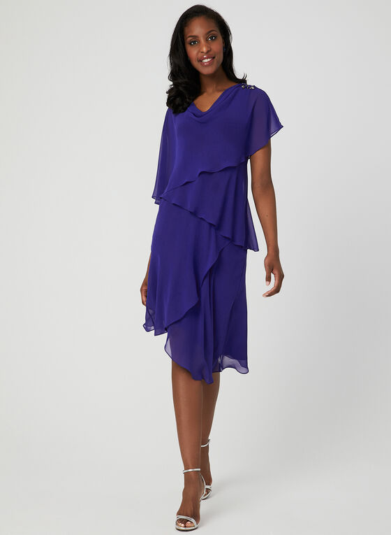 Removable Poncho Dress, Blue, hi-res