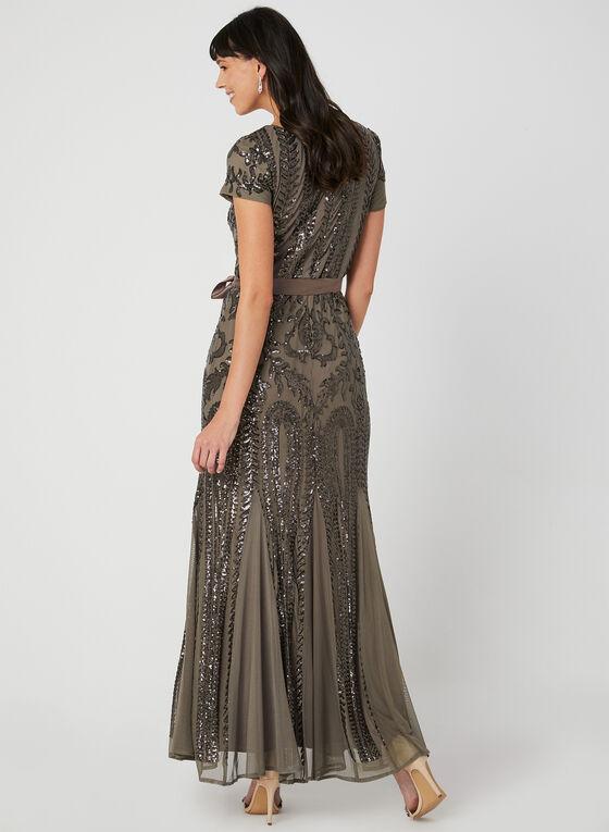 Sequin Mesh Dress, Brown, hi-res