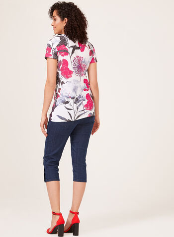 Vex – Watercolour Floral Print Tee, Red, hi-res
