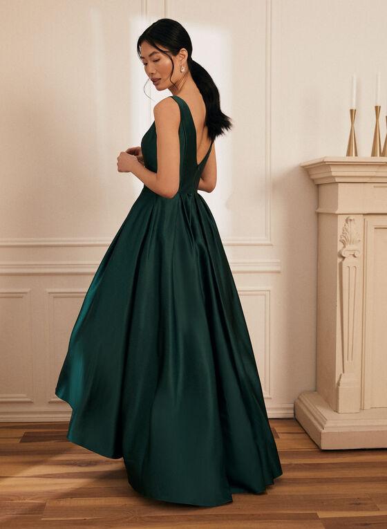 V-Neck Satin Ball Gown, Green