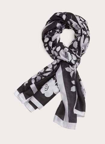 Rose Bush Print Oblong Scarf, Grey, hi-res