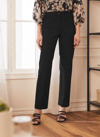 Pantalon coupe signature à jambe droite, Noir,  pantalon, signature, jambe droite, pinces, printemps été 2021