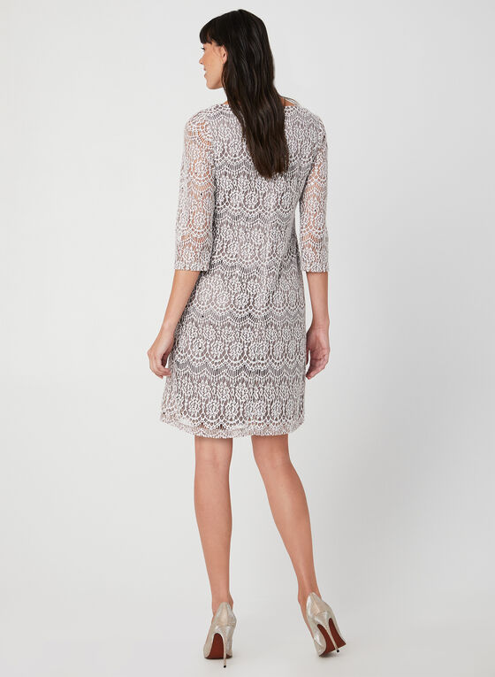 Sequin Lace Dress, Brown