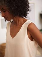 Sleeveless V-Neck Crepe Blouse, White